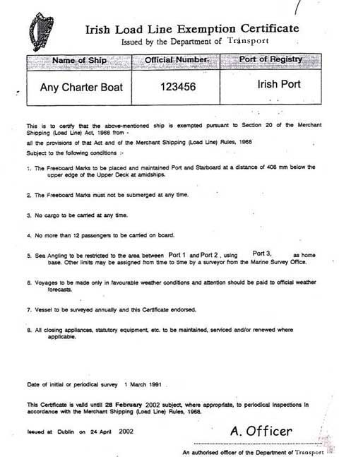 Photocopy: Irish Load Line Exemption Certificate